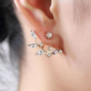 Jewelry - NEW crystal leaf ear jackets